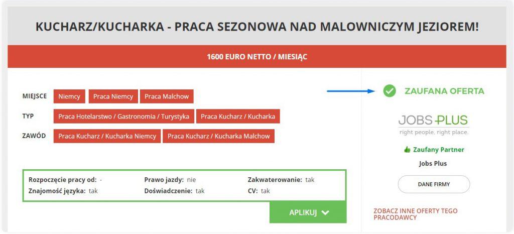 Zaufana oferta pracy Jobs Plus - Poloniusz