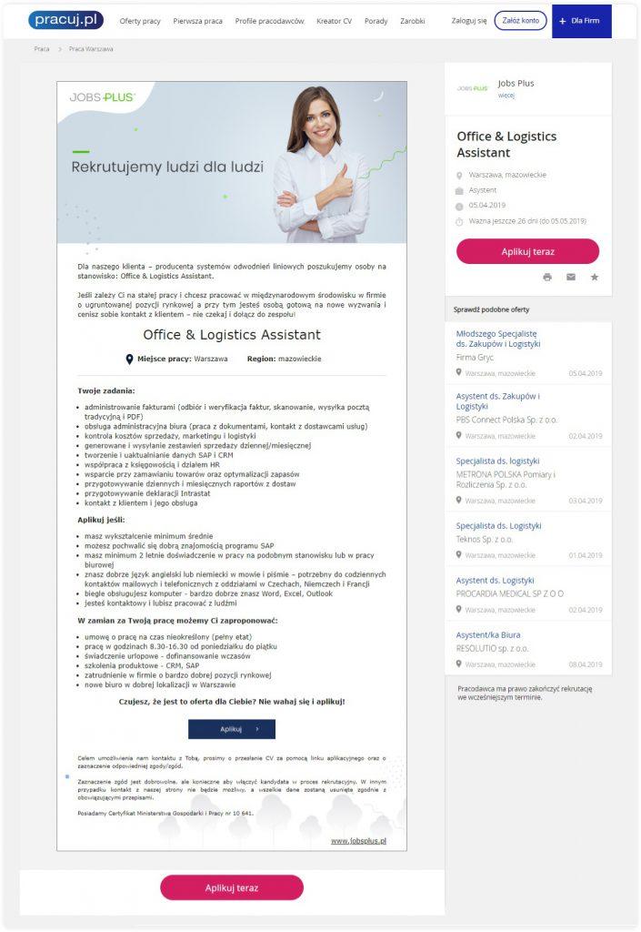 Jak napisać ogloszenie o pracę przykłady Jobs Plus